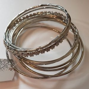 World Market Silver Tone Boho Bangle (9) L/XL NWT